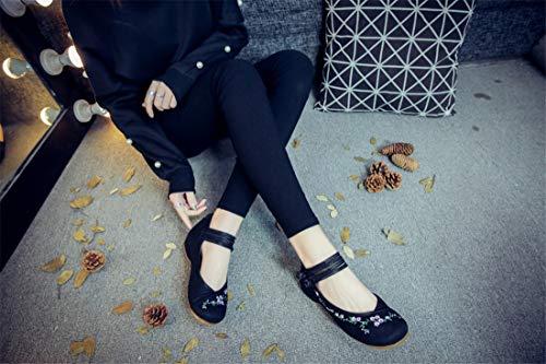 Lacées Brodées Espadrilles Chaussures Danseurs Black chaussures 5T4q4f