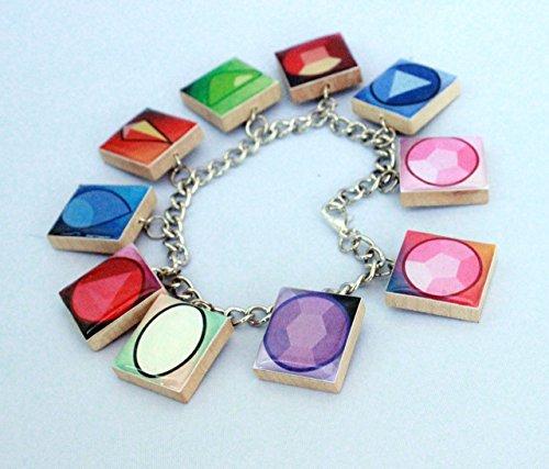 Crystal Gems Inspired Scrabble Tile Charm Bracelet - Steven Universe Inspired ()