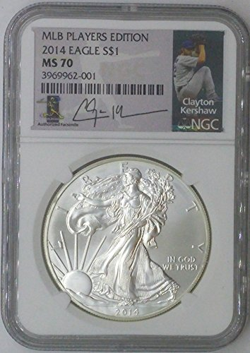 2014 Special Mint $1 MS70 NGC $1 Silver Eagle 1 Troy Oz Fine Silver .999 MLB Players Edition Clayton Kershaw MS70 NGC