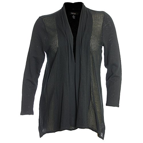 (Style & Co. Womens Plus Pointelle Trim Open Front Cardigan Sweater Deep Black 1X)