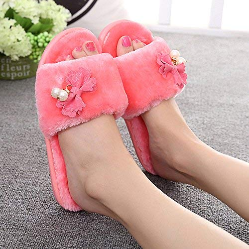 1 JaHGDU Ladies Casual Autumn Winter Warm Super Soft Plush Cotton Slippers Bow and Pearl Decoration Outdoor and Indoor Universal Super Soft Plush Slippers