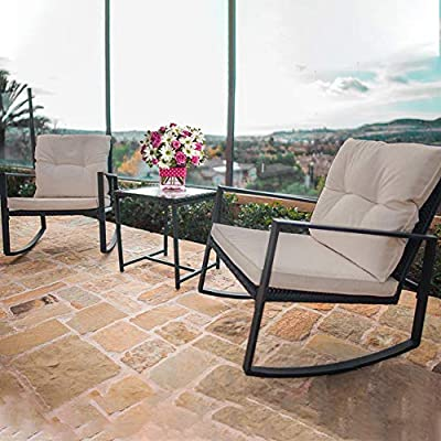 BestMassage 3 Pieces Outdoor Rocking Chair Bistro Set Conversation Wicker Rattan Set Lawn Garden Backyard Balcony Furniture