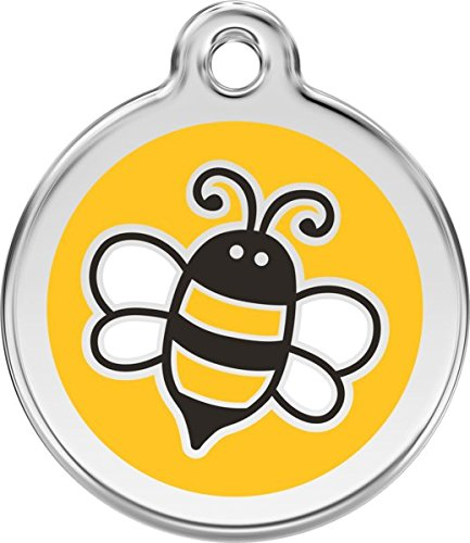 Red Dingo Custom Engraved Stainless Steel & Enamel Bumble Bee Dog I.D. Tag - Yellow (Medium)]()