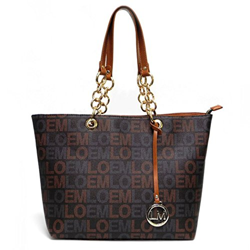 LOEM Brown Signature Shoulder Bag Handbag Tote Logo Designer Inspired