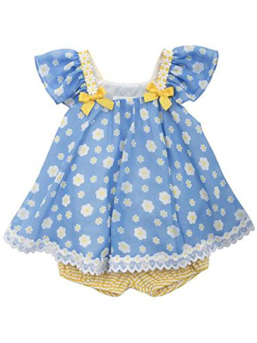 Rare Editions Little Girls Chiffon Top w Stripe Yellow Bloomers - Short Set (4T) (Bloomers Editions Rare)