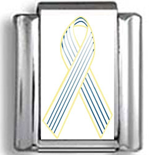 White Awareness Ribbon Photo Charm - Navy Blue and White Pinstripe Awareness Ribbon Photo Italian Charm