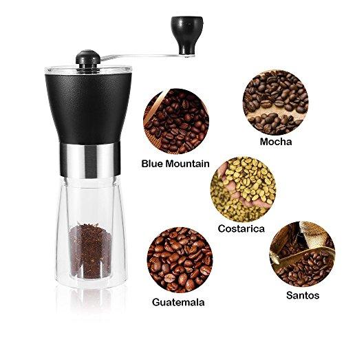VANVENE Manual Coffee Grinder, Coffee Bean Grinder, Adjustable Hand Grinder, Ceramic Conical Burr Mill, Mini Portable Home Kitchen Travel Coffee Bean Grinder/Coffee Mill for Precision Brewing by VANVENE (Image #7)