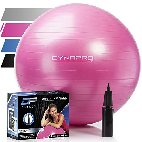 Exercise Ball – 2,000 lbs Stability Ball – Professional Grade – Anti Burst Exercise Equipment for Home, Balance, Gym, Core Strength, Yoga, Fitness, Desk Chairs (Pink, 65 Centimeters)