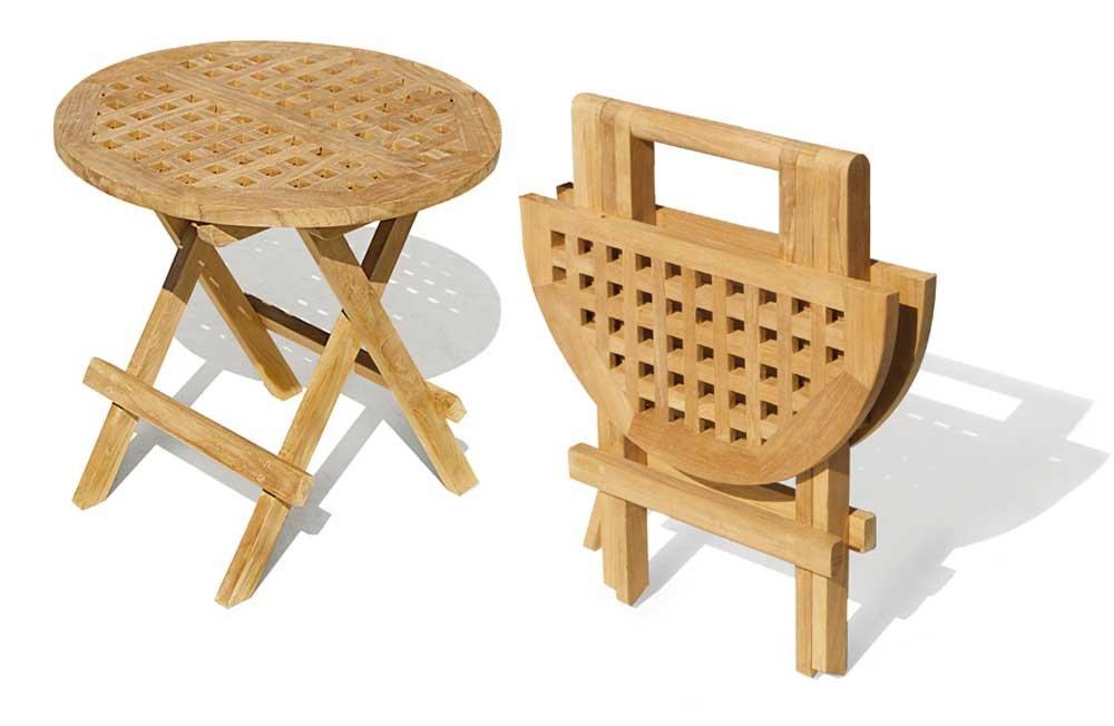 Jati Folding Picnic Round Table - A- Grade Teak Folding Garden Coffee Table Brand, Quality & Value
