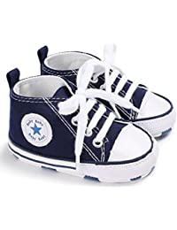 Baby Boy Girls Toddler Soft Canvas Cartoon Lace up Crib Shoes