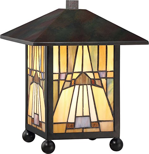 Quoizel TFIK6111VA Inglenook Mission Tiffany Lantern Table Lamp, 1-Light, 60 Watts, Valiant Bronze (11