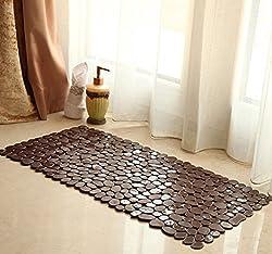 Simple Stone Non-Slip Bath and Shower Rug Bath Mat,14x27-inch (coffee)