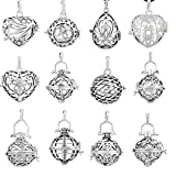 EUDORA 12PCs Harmony Ball Cage Locket For 18mm/0.71 in Chime Bell/Lava Stone/Pompon - Silver Women Pendant