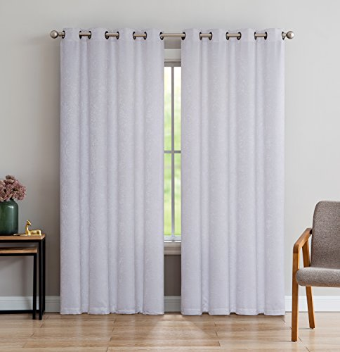 LinenZone Evelyn - Room Darkening Embossed Thermal Weaved Curtain Panel by Noise Reduction Fabric - With 8 Grommets - Premium Draperies (1 panel 54