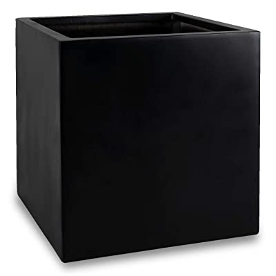 "Black Square Planter Box Indoor Outdoor Flower and Tree Cube Planting Pot 16"" X 16"" - Fiberstone : Garden & Outdoor"