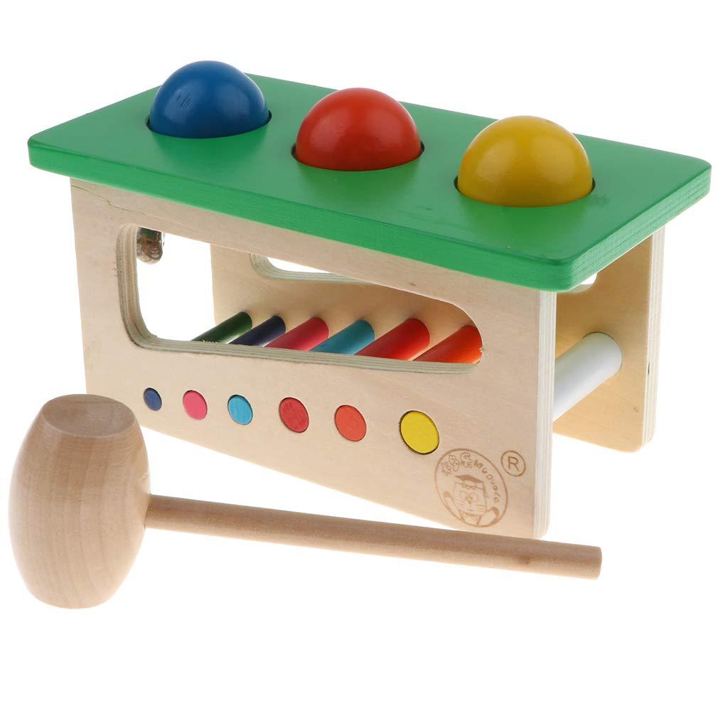 Holz Klopf Spielzeug Hammerspiel Schlagspiel Ausbildung Spielzeug f/ür Kinder Farben und Formen Lernen