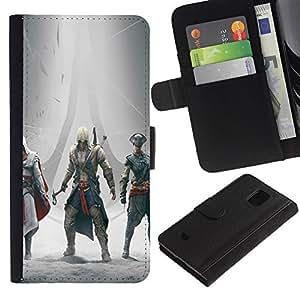 EJOY---Tirón de la caja Cartera de cuero con ranuras para tarjetas / Samsung Galaxy S5 Mini, SM-G800 / --Asesinos Encuentro