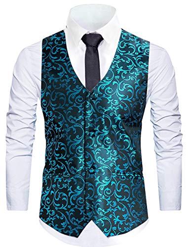 WANNEW Mens Vest Suit Vests Tuxedo Vest Vest for Men(Blue, XXL)