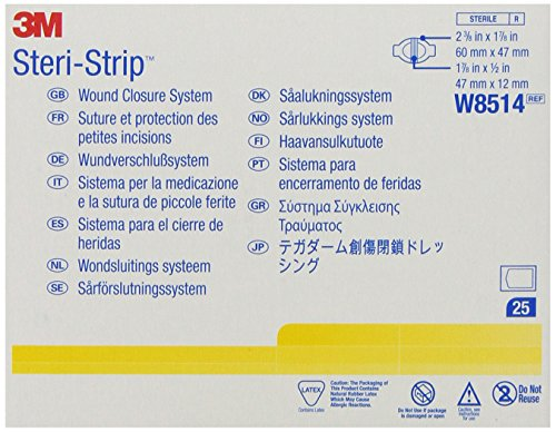 3M™ Steri-Strip™ Wound Closure System Closure: 2-3/8 in. x 1-7/8 in./60 mm x 47 mm, Dressing: 1-7/8 in. x 1/2 in./47 mm x 12 mm,  3 closure/envelope