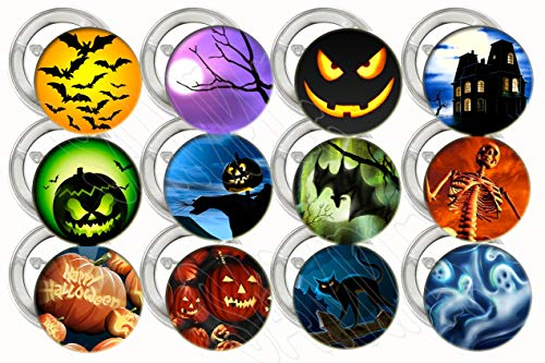 """Halloween Buttons Party Favors Supplies Decorations Collectible Metal Pinback Buttons Pins, Large 2.25"""" -12 pcs, Skeleton, Spooky Pumpkin, Scary Ghost, Bats, Huanted -"""