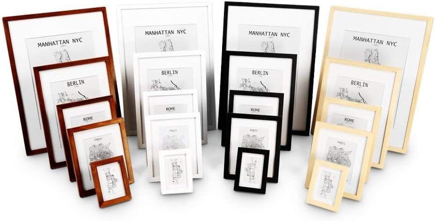 Echtholz Bilderrahmen A1 Plexiglas Kiefer Natur Classic by Casa Chic mit DIN A2 Passepartout Rahmenbreite 3cm