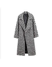 معطف نسائي طويل الأكمام من DressU من الصوف مع جيب سميك ومقاس كبير