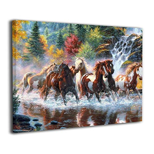 (Canvas Wall Art Eight Horses Running Horse Decor Frameless Oil Paintings Pictures Modern Decorations for Living Room Bedroom Bathroom Home Decor for Living Room 40x50cm)