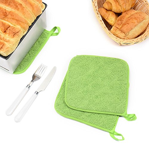 Lifaith 100% Cotton Kitchen Everyday Basic Terry Pot holder Heat Resistant Coaster Potholder for Cooking and Baking Set of 5 Apple Green by Lifaith (Image #6)
