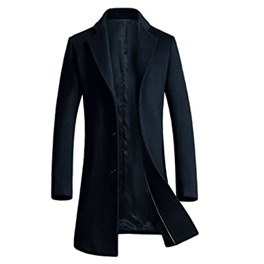 iBaste Herren Wollmantel Elegante Wintermantel Slim Fit Winterjacke Winter Herbst  Jacket Herren Mantel Jacke Männer Parka Trenchcoat Übergangsjacke  ... b7b6054fd1