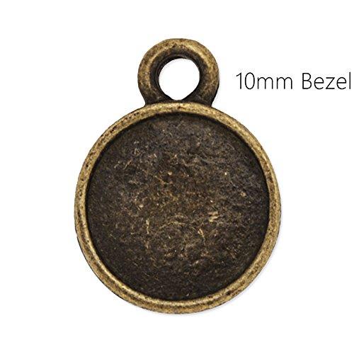10mm Zinc Alloy Cameo Cabochon Base Setting Pendant,cabochon Bezel Settings, 20 Pieces/lot(Antique Bronze)