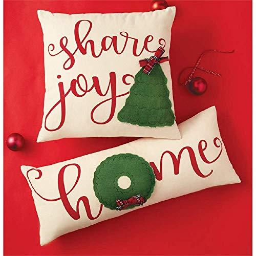 Mud Pie Christmas Canvas Applique Tree Throw Pillows (Home 12 inches x 30 inches) (Mud Christmas Pillows Pie)