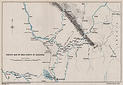 Amazon.com: FIRST WORLD WAR. Sketch map of area North of Baghdad ...