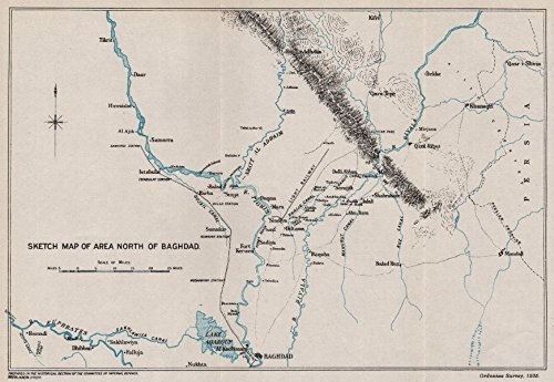 First World War. Sketch map of area North of Baghdad. Mesopotamia. Iraq - 1935