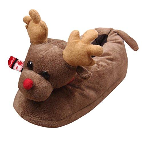 Pantofole Di Cotone Unisex Peluche Inverno Caldo Scarpe Antiscivolo Piatte Scarpe Di Natale Coperta Pantofole Marrone
