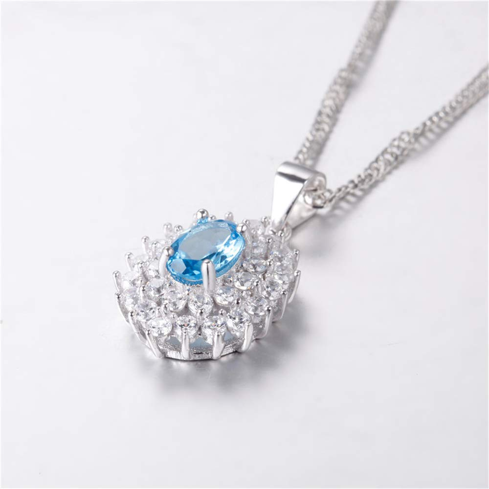 GLEENECKLAC Blue Topaz Necklace for Wedding Pendant Necklace Female Pure 925 Sterling Silver Jewelry with Box