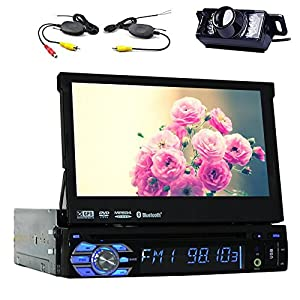 "7"" TouchScreen Bluetooth Car GPS Navigation Player 1 din Car Stereo DVD CD In Dash FM Radio sat nav iPod with Wireless Rear Camera"