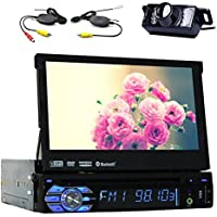 7 TouchScreen Bluetooth Car GPS Navigation Player 1 din Car Stereo DVD CD In Dash FM Radio sat nav iPod with Wireless Rear Camera