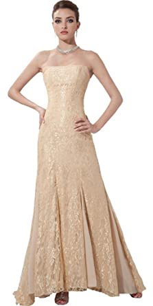 Orifashion Wheat Color Lace Sheath Evening Dress Model Edsher0656