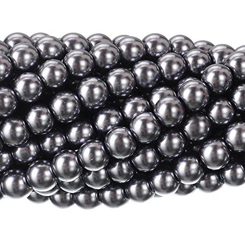 RUBYCA 200Pcs Czech Tiny Satin Luster Glass Pearl Round Beads Beading Jewelry Making 4mm Dark Gray (Bead Druk Round)