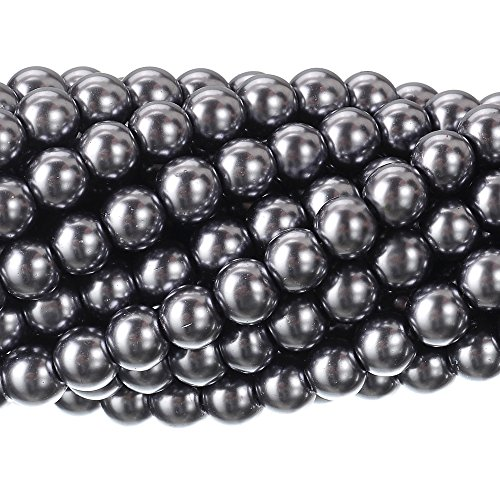 (RUBYCA 200Pcs Czech Tiny Satin Luster Glass Pearl Round Beads Beading Jewelry Making 6mm Dark Gray)