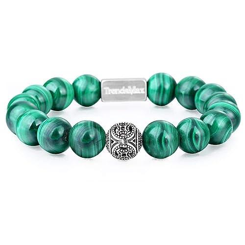 Handmade Natural 10 mm Vert Malachite Round Gemstone Beads Stretch Bracelet 7.5/'