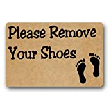 JXSED Please Remove Your Shoes (4) Door Mat Decorative Indoor/Outdoor Rubber Non Slip Floor Mat Doormat for Patio Front Door 20X31