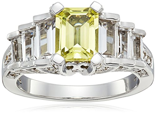 Sterling-Silver-Created-Yellow-Sapphire-and-Created-White-Sapphire-Ring-Size-7