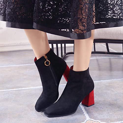 LBTSQ-Mode Damenschuhe Kurze Stiefel Mit Mit Mit Hohen 8Cm Samt Hart Bei Square Kopf - Mode - Stiefel Reißverschlüsse Dünnen Stiefel. bab79c