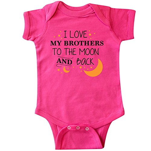 inktastic I Love My Brothers to The Moon and Infant Creeper 6 Months Hot Pink (I Love My Brothers)