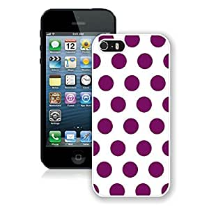 New Top Apple Iphone 5s Case Polka Dot White and Purple Durable Soft Silicone White Mobile Phone Cover Accessories for Iphone 5