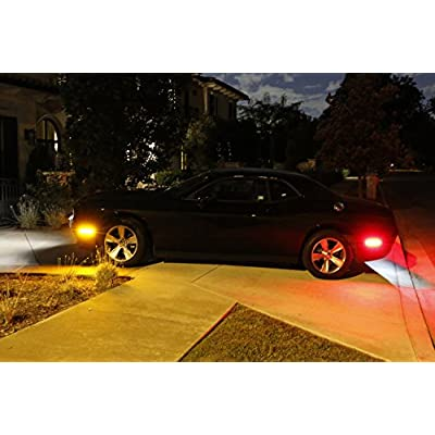 iJDMTOY Clear Lens Amber/Red Full LED Side Marker Light Kit Compatible With 2015-20 Dodge Challenger, Powered by Total 180-SMD LED, Replace OEM Sidemarker Lamps: Automotive