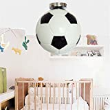 Mengzhu-Michelle Football Chandelier Adjustable Industrial Loft Black Creative Football Glass LED Pendant Light for Living Room Bar Children's Room E27 Ceiling Light