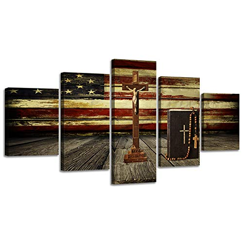Christian Jesus Cross Canvas Wall Art Vintage US USA American Flag Prints Artwork Wall Decor Home Christ Picture for Bedroom Living Room Flag Paintings Posters Framed Ready to Hang (70