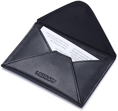 HISCOW Envelope Business Card Case Black with Magnet Closure - Italian Calfskin